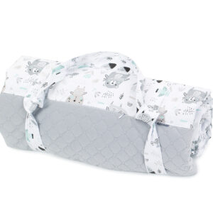Picknickdecke graue Bären 135x170 wasserdicht aus Baumwolle für Kinder mit Tasche
