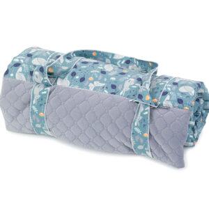 Graue Picknickdecke aus Samt und Baumwolle Reiher Muster 135x170cm wasserdicht