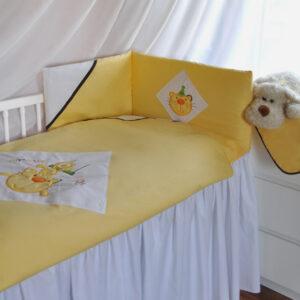 Baby Bettwäsche 90x120 gelb 100% Baumwolle Zirkus Katze Strickerei inklusive Bettumrandung 160cm