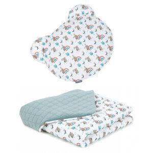 Babydecke mit rundem Kissen Khaki Velvet und Baumwolle Häschen Muster für Kinderwagen oder Zuhause