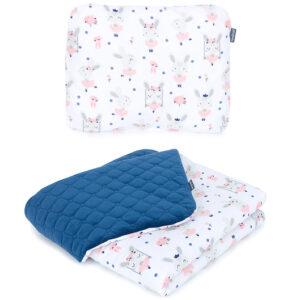 Babydecke und Kissen für Kinderwagen Häschen mit Velvet Blau