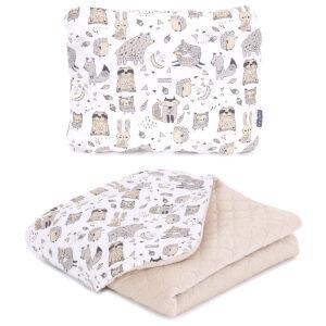Babydecke und Kissen für Kinderwagen Waltiere Muster Velvet Creme