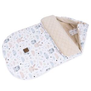 Schlafsack für Kinderwagen oder Buggy Velvet Creme Eulen und Hasen